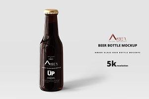 Amber Glass Beer Bottle Mockup 04