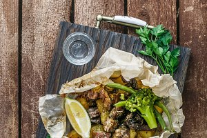 Oven baked lamb in perchament -