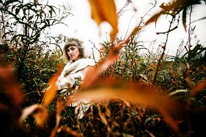 portrait of a beautiful girl, autumn