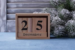 Christmas background with wooden