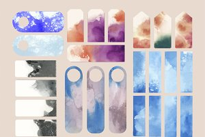 Set of watercolor backgrounds vector