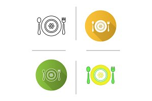 Baby plate with spoon and fork icon