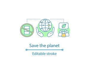 Planet saving concept icon