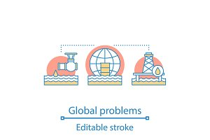 Global problems concept icon