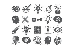 Creativity icons set Icons for