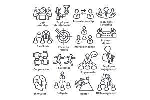 Business management line icons Pack