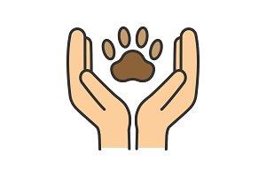 Animal welfare color icon