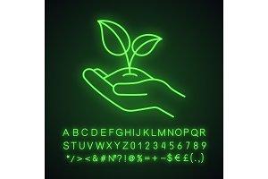 Greening neon light icon