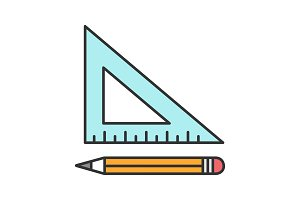 Triangular ruler with pencil icon