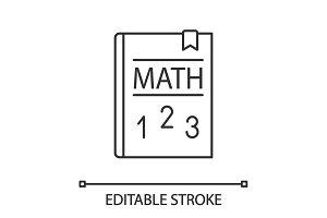 Math textbook linear icon