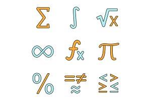 Mathematics color icons set
