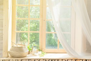 White Curtain and Wood Window Frame