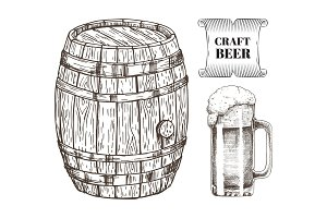 Craft Beer Glass and Barrel Vector