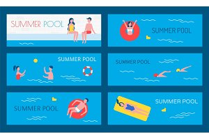 Summer Pool Water Activities Vector