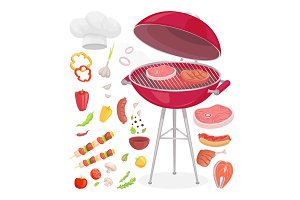 Beefsteak Grilling Meat Icons Vector