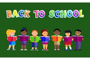 Back to School Poster Kids Vector