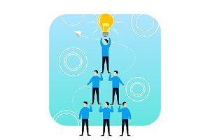 Tower of successful people idea lamp