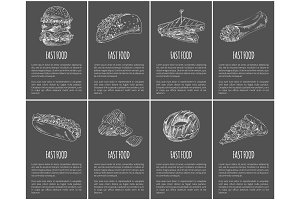 Fast Food Posters Set Dishes Vector