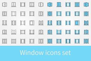 Window outline icons set