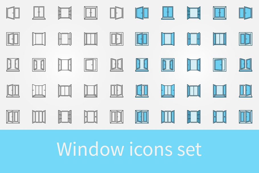 Window outline icons set