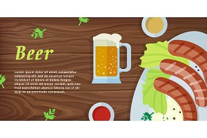 Beer Vector Web Banner in Flat Style