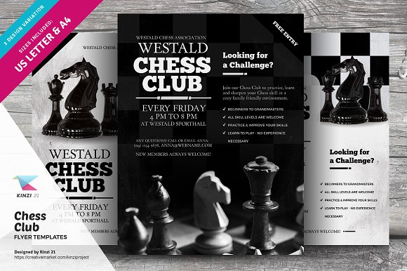 Chess club flyer templates flyer templates creative market chess club flyer templates maxwellsz