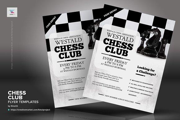 chess club flyer templates flyer templates creative market