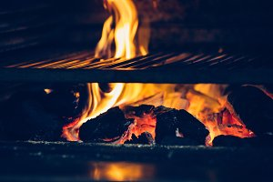 Close up of a barbecue grill on fire