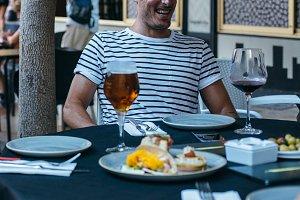 Man enjoying spanish tapas