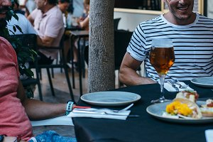 Man enjoys spanish tapas