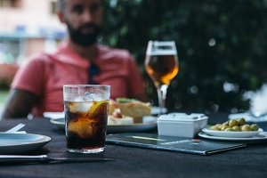 Tasting drinks and spanish tapas in