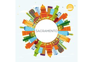 Sacramento USA City Skyline