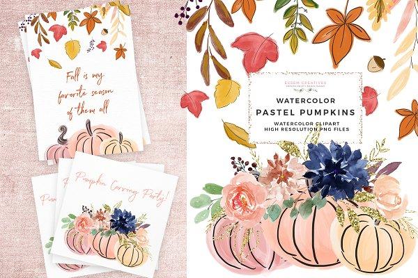 Fall Floral Pumpkin Wreath Clipart