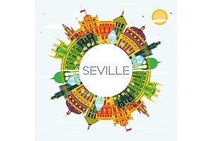 Seville Spain City Skyline