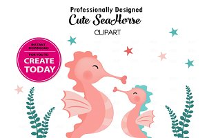Seahorse coral and teal clipart