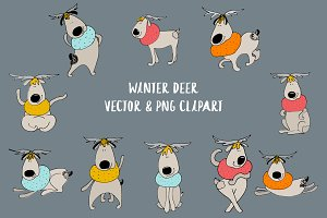 Winter deer Vector and png clipart
