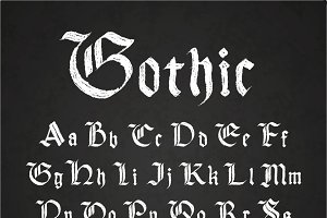 Old hand drawn gothic letters