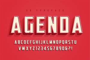 Agenda display font design, alphabet