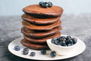 Chocolate Pancakes with Blueberry on
