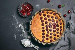 Cottage Cheese Cherry Pie, Homemade