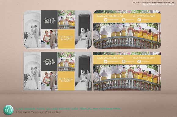 Squares Photo Collage Business Card