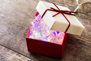 White gift box with lights