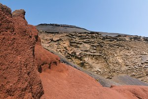Red and Brown Volcanic Mountains