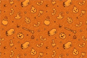 Set of 9 Halloween seamless patterns