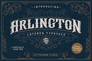 Arlington Layered Font & Ornaments