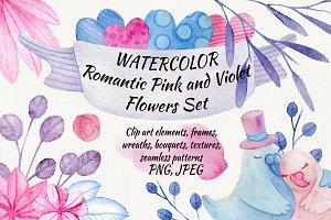 Watercolor Romantic Pink Flowers