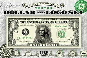 Vector Dollar and Money Logo Set