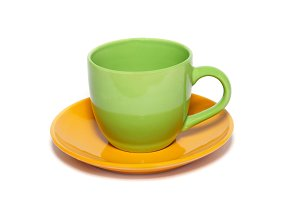 Colored teacup and saucer