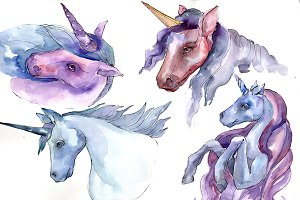 Sweet purple unicorn horse PNG set