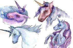 Sweet purple unicorn horse PNG set